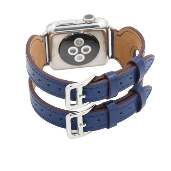 123Watches.nl Apple watch leren double gesp band - blauw