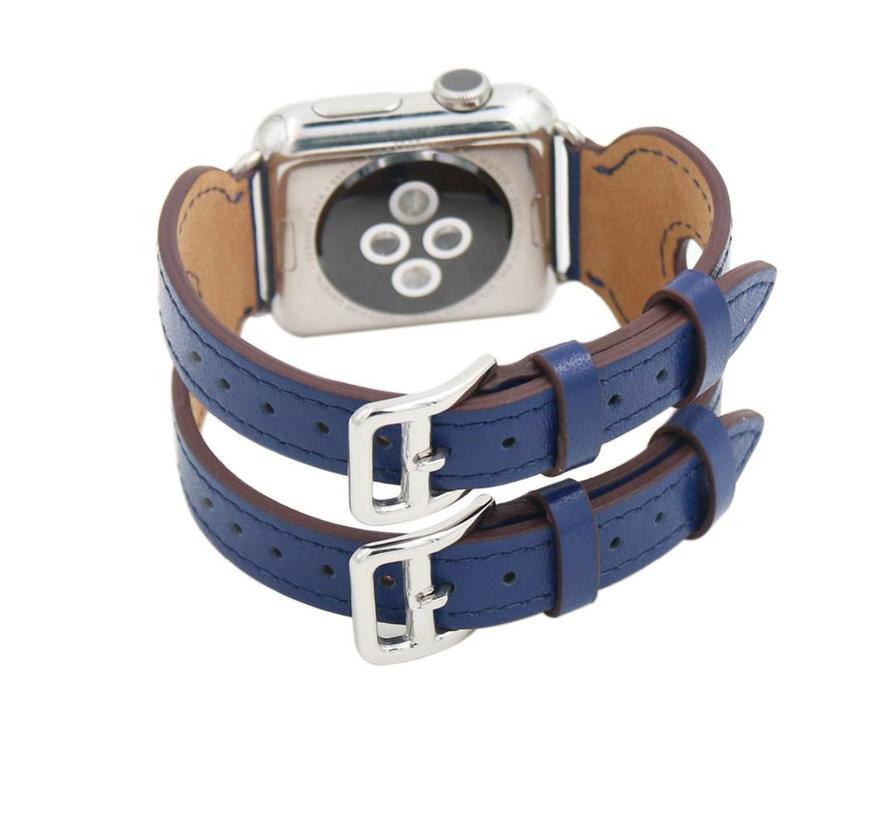 42mm Apple Watch blauw leer double gesp bandje