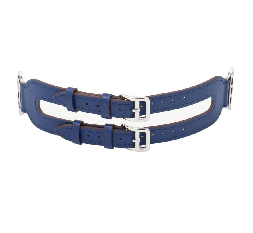 Apple watch leather double buckle strap - blue