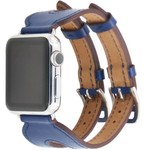 123Watches Apple watch leather double buckle strap - blue