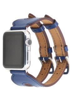 123Watches.nl 42mm Apple Watch blauw leer double gesp bandje