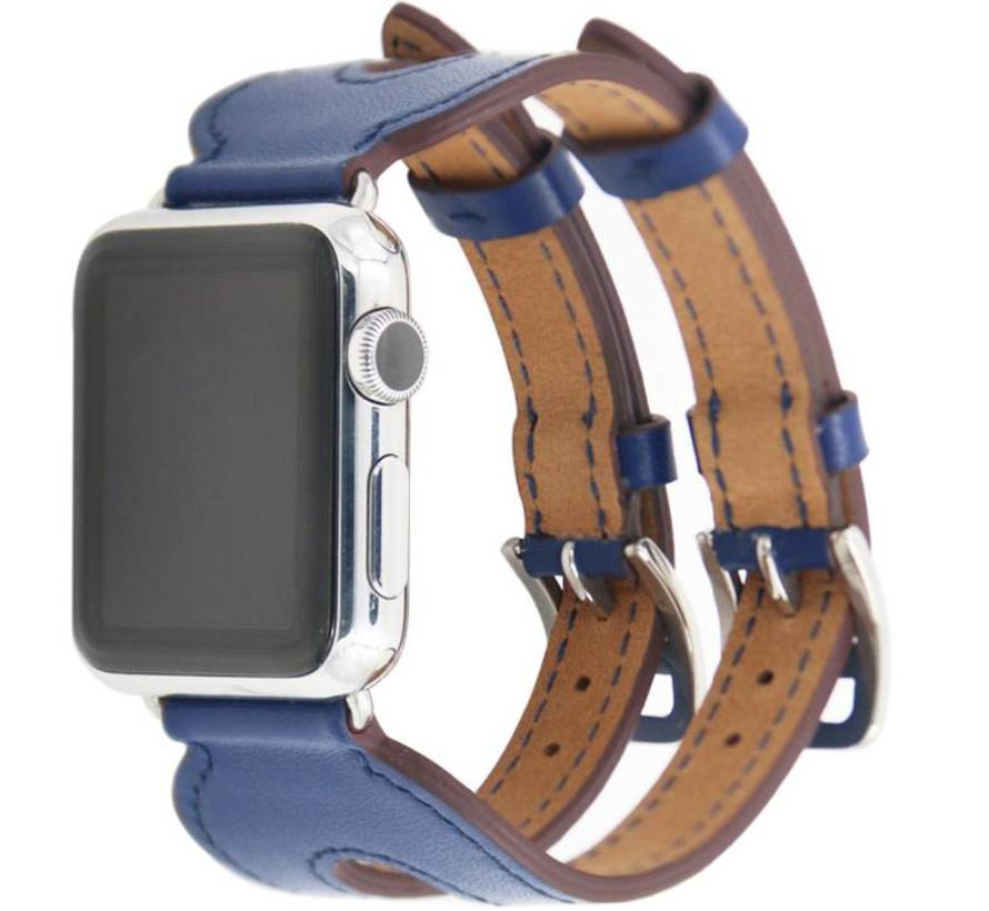 Apple watch leren double gesp band - blauw