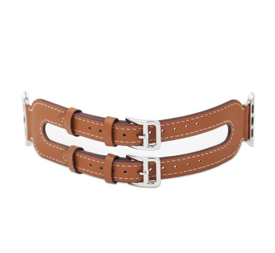 Apple watch leather double buckle strap - brown