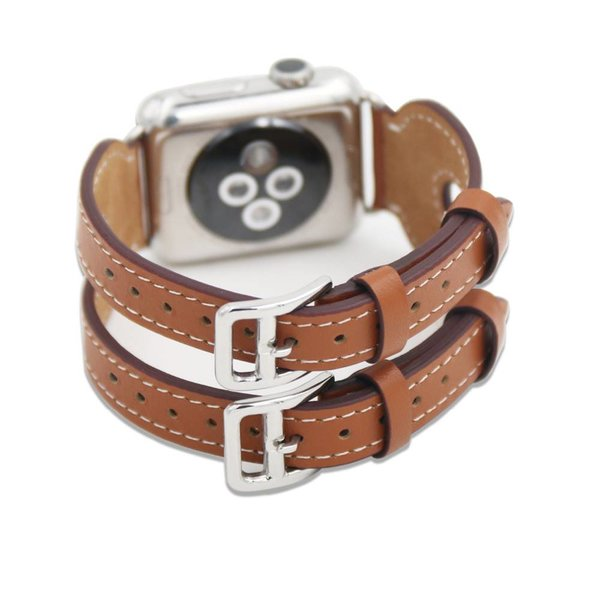 123Watches.nl Apple watch leren double gesp band - bruin