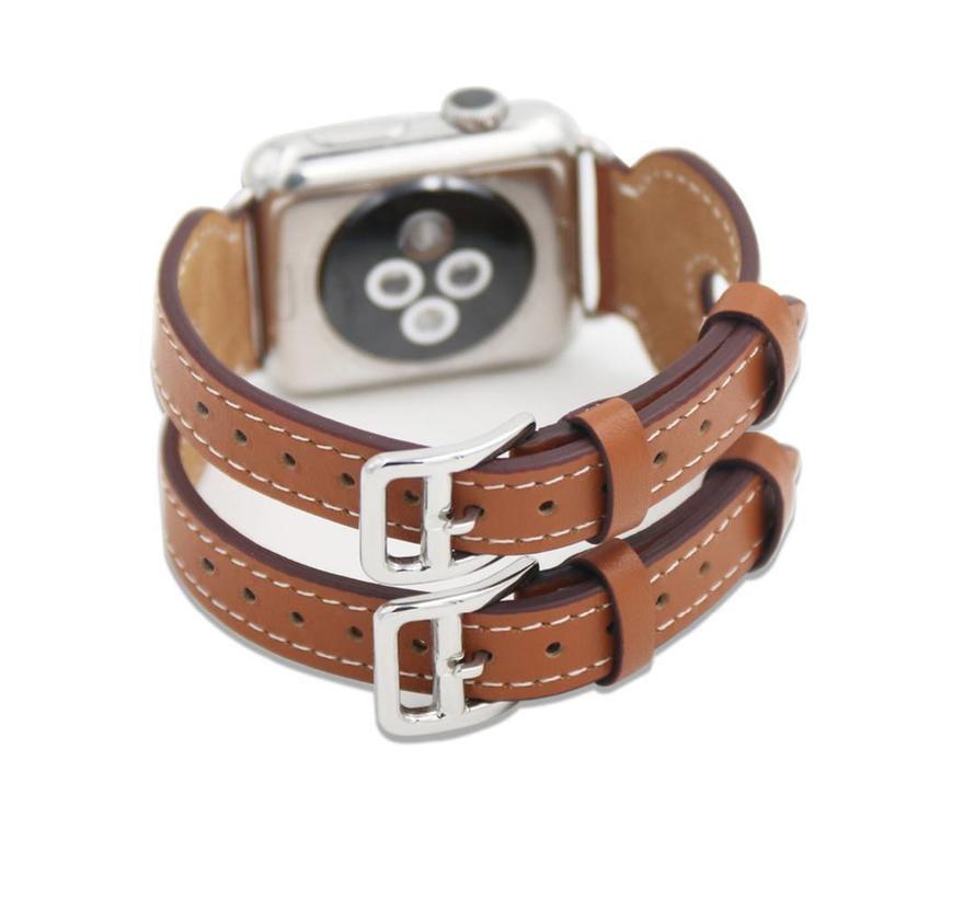 42mm Apple Watch bruin leer double gesp bandje