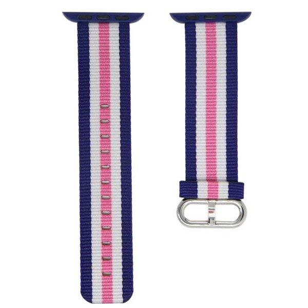 123Watches Apple watch nylon gesp band - roze gestreept