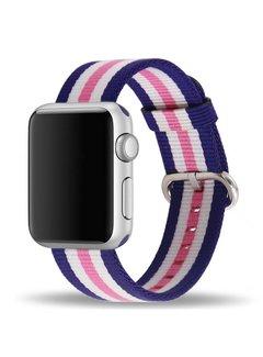 123Watches.nl Apple watch nylon gesp band - roze gestreept