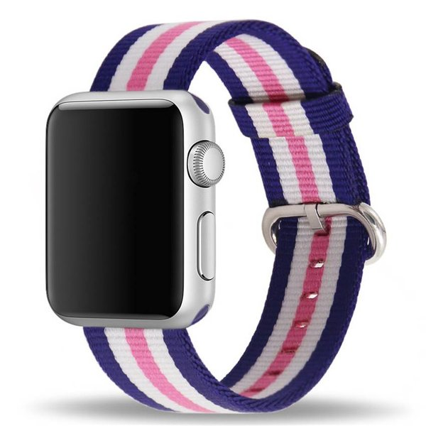 123Watches.nl Apple watch nylon gesp band - roze gestreept