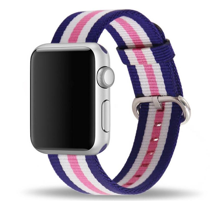 Apple watch nylon gesp band - roze gestreept