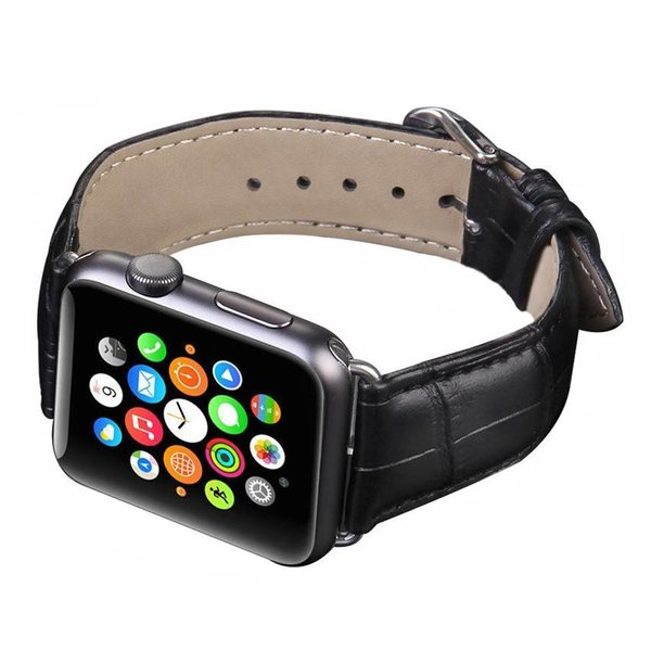 123Watches Apple watch leather crocodiles band - black