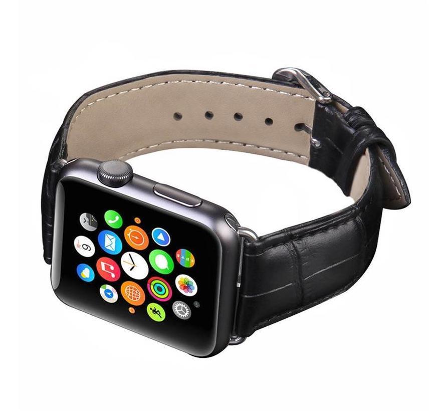 Apple watch leren krokodillen band - zwart