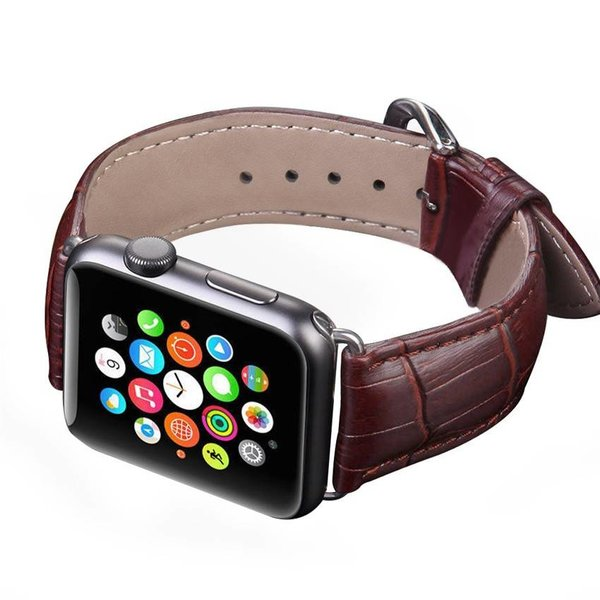 123Watches.nl Apple watch leather crocodiles band - brown