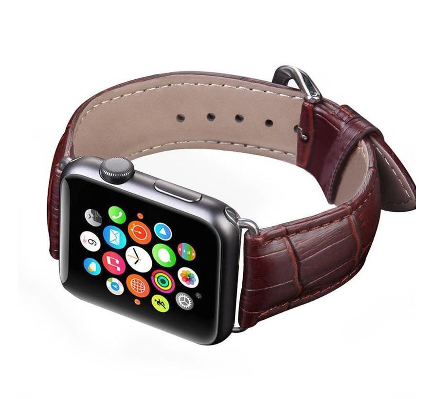 Apple watch leder krokodilarmband - braun