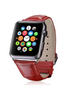 123Watches.nl Apple watch leather crocodiles band - red