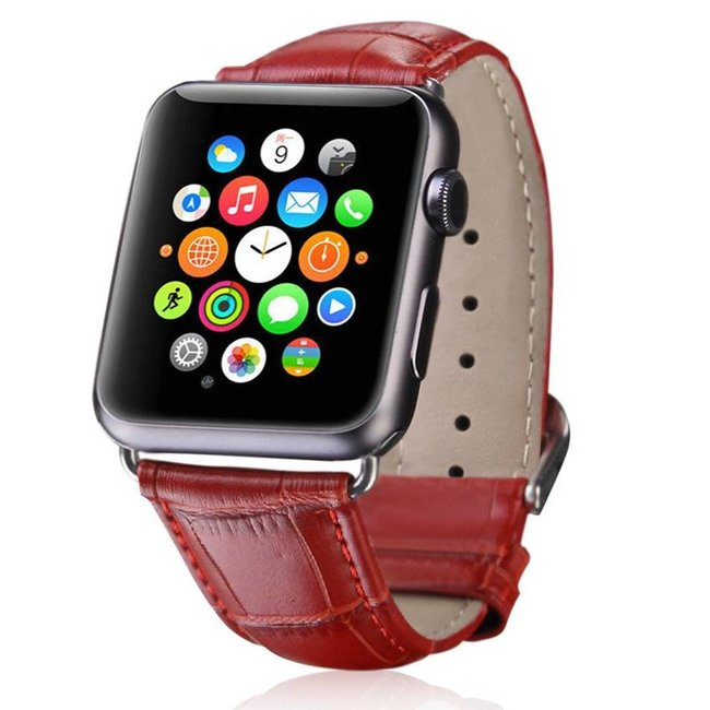 Merk 123watches Apple watch leather crocodiles band - red