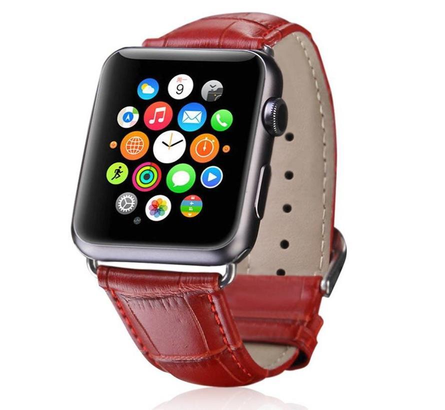 Apple watch leren krokodillen band - rood