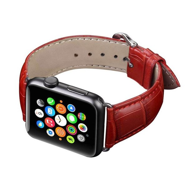 123Watches Apple watch leather crocodiles band - red
