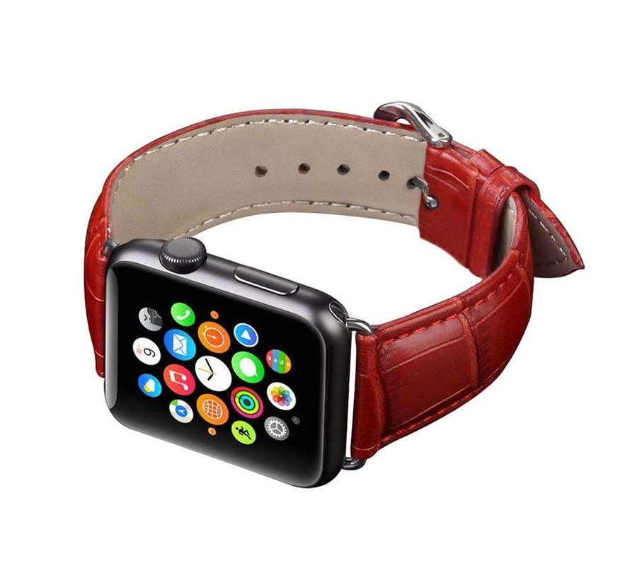 Apple watch leather crocodiles band - red