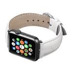 123Watches Apple watch cuir crocodiles band - blanc