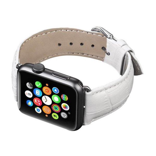 123Watches.nl Apple watch cuir crocodiles band - blanc