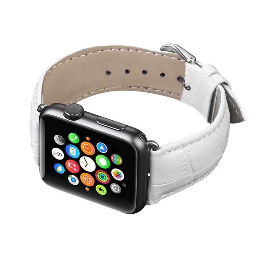 Apple watch leather crocodiles band - white