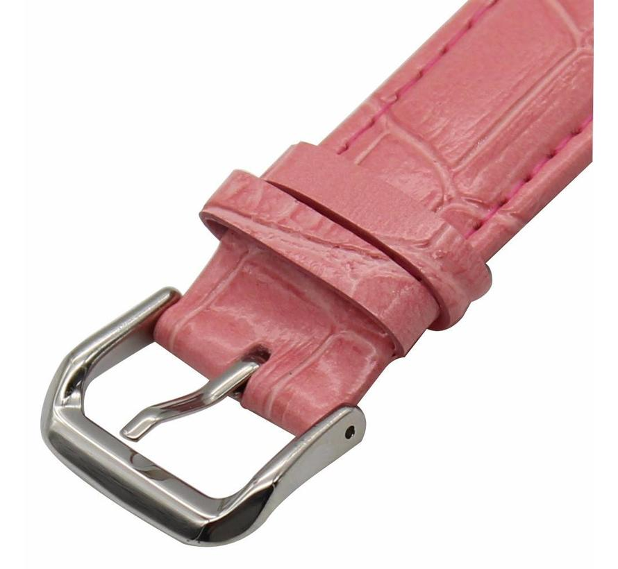 Apple watch leder krokodilarmband - pink