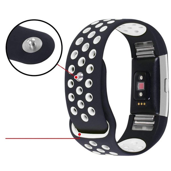 123Watches Fitbit charge 2 sport band - zwart wit