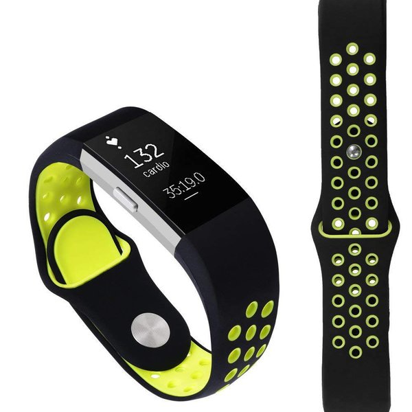 123Watches Fitbit charge 2 sport band - zwart groen