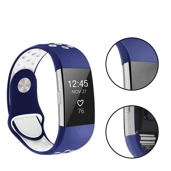 123Watches Fitbit charge 2 sport band - donkerblauw wit