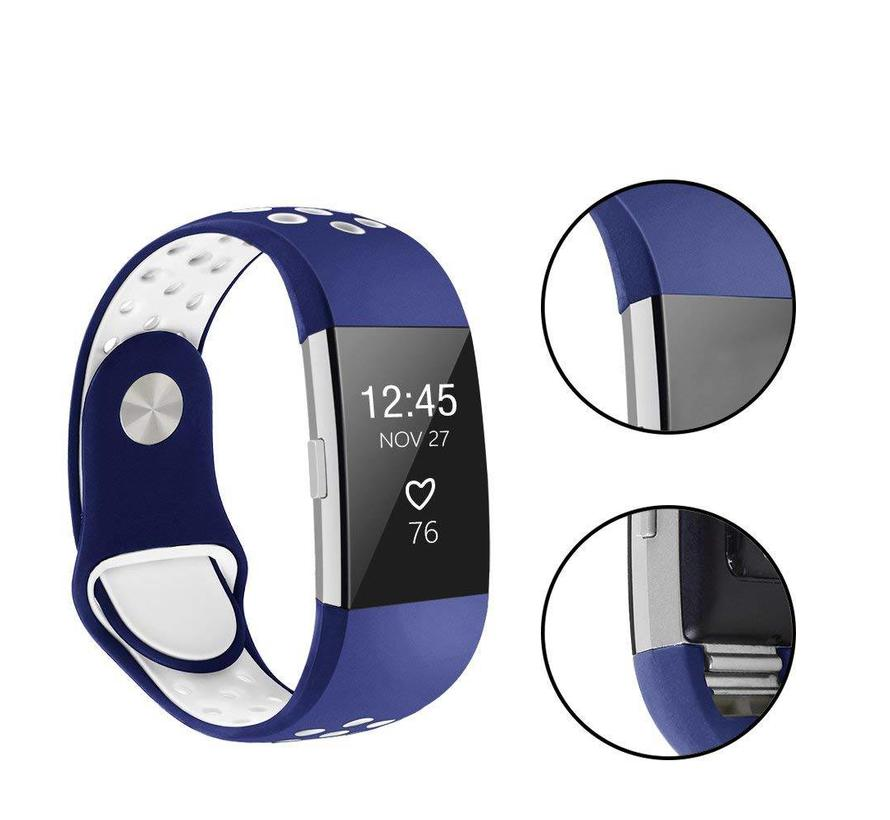 Fitbit Charge 2 donkerblauw / wit sport bandje