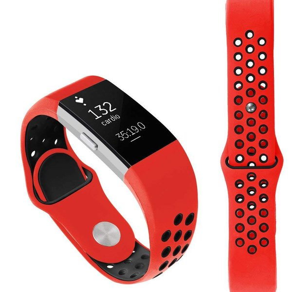 123Watches Fitbit charge 2 sport band - rood zwart
