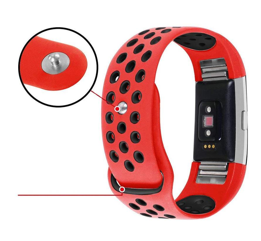 Fitbit Charge 2 rood / zwart sport bandje