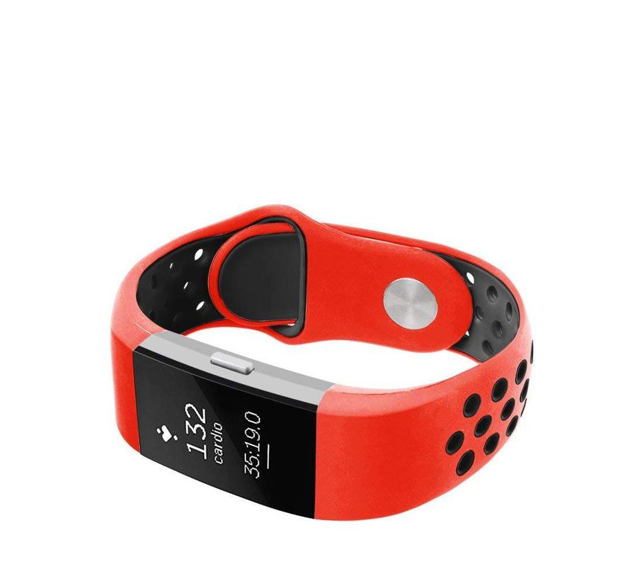 Fitbit charge 2 sport band - rood zwart