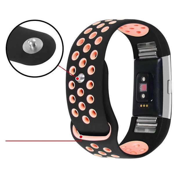 123Watches Fitbit charge 2 sport band - zwart roze