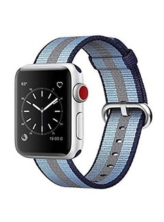 123Watches.nl 42mm Apple Watch blauw gestreept geweven nylon gesp bandje
