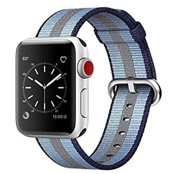 123Watches Apple watch nylon gesp band - blauw gestreept
