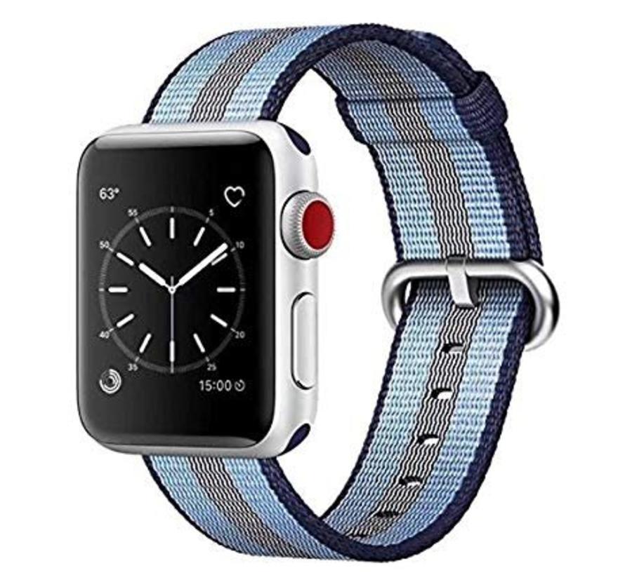 42mm Apple Watch blauw gestreept geweven nylon gesp bandje