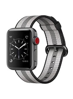 123Watches.nl Apple watch nylon buckle band - black striped