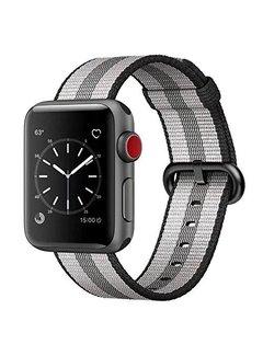 123Watches.nl Apple Watch nylonschnallenband - schwarz gestreift