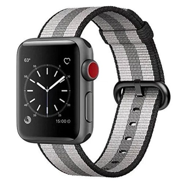 123Watches Apple watch nylon buckle band - black striped