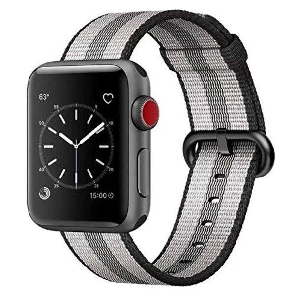 123Watches.nl Apple watch nylon gesp band - zwart gestreept