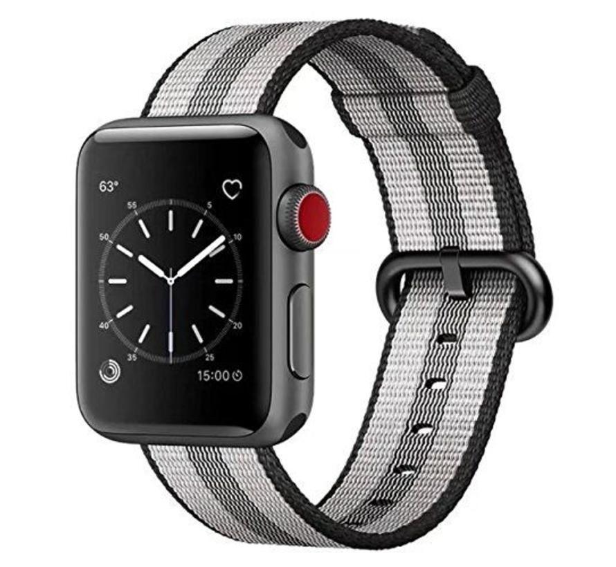 Apple watch nylon gesp band - zwart gestreept
