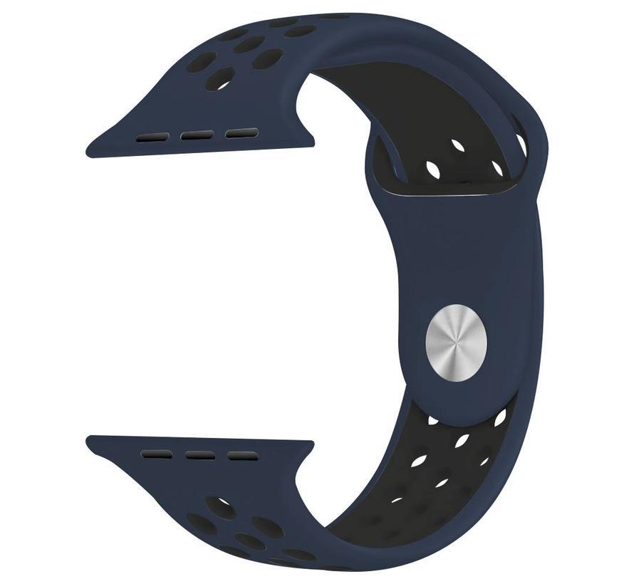 Apple watch doppelt sport bandje - mitternachtsblau schwarz