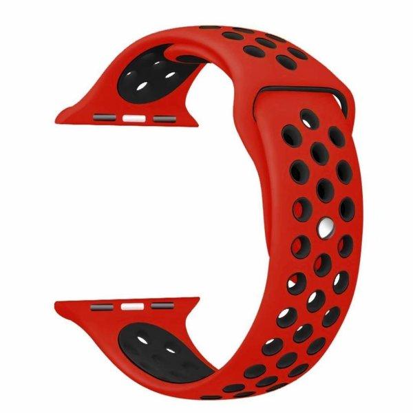 123Watches.nl Apple watch dubbel sport bandje - rood zwart