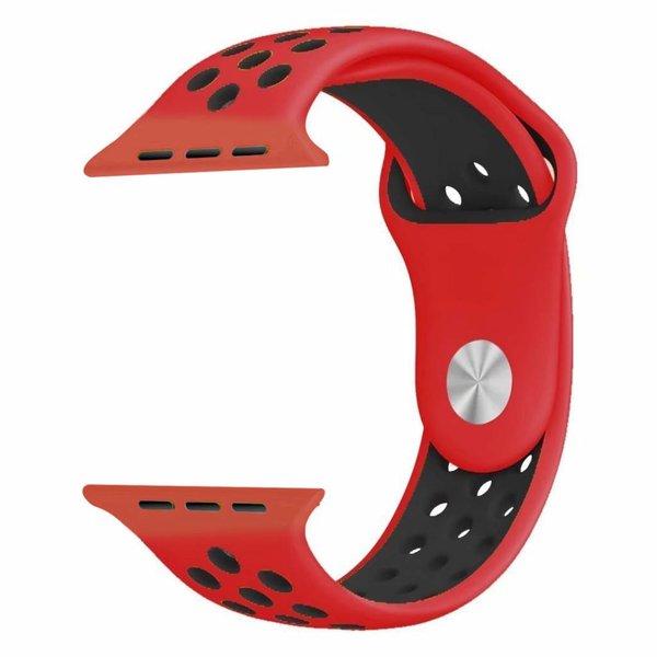 123Watches Apple Watch double sport sangle - rouge noir