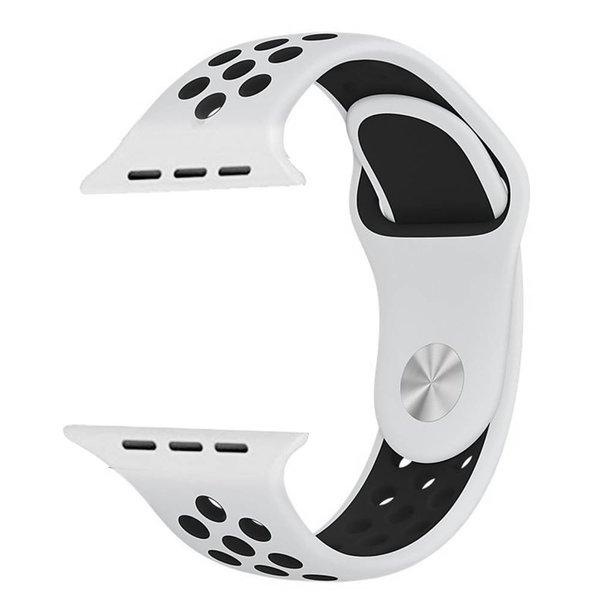 123Watches Apple watch dubbel sport bandje - wit zwart