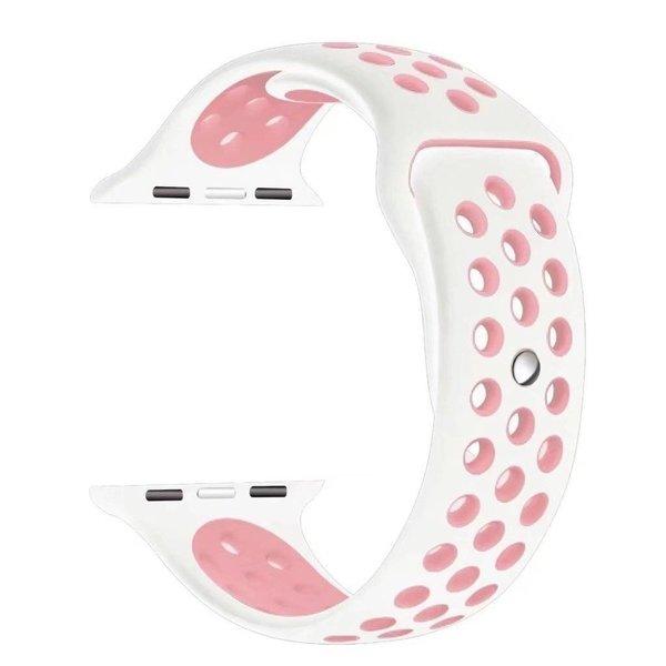 123Watches Apple watch dubbel sport bandje - wit roze