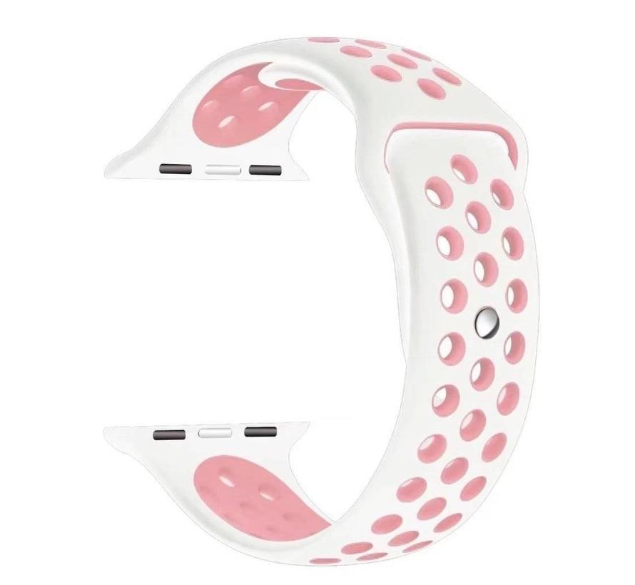 42mm Apple Watch wit / roze sport bandje