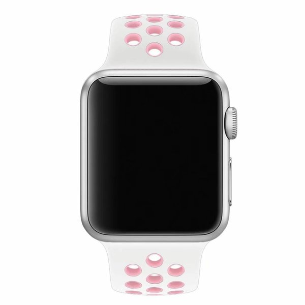 123Watches Apple watch double sport bandje - white pink