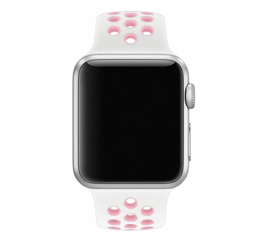 Apple watch doppelt sport bandje - weiß pink